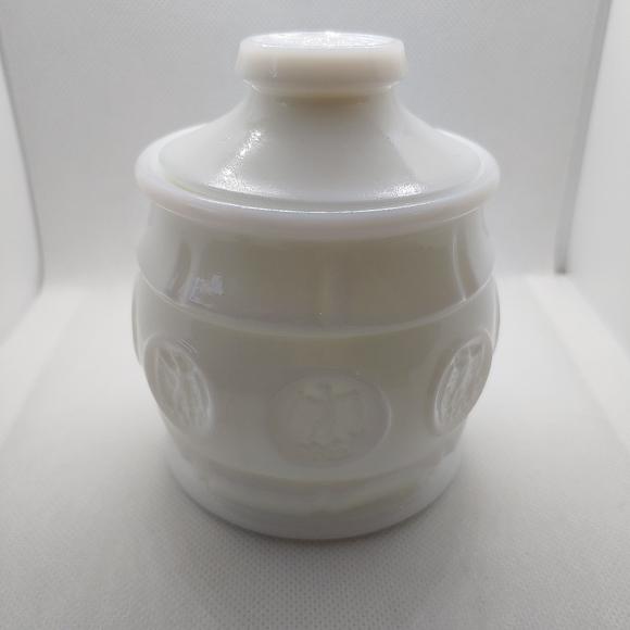 Vintage White Milk Glass Eagle Jar